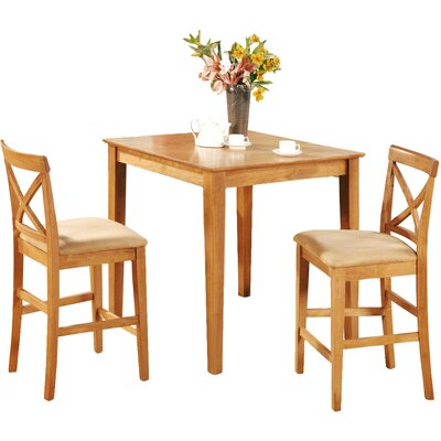 Pleasant View 3 Piece Counter Height Bistro Set Finish: Oak