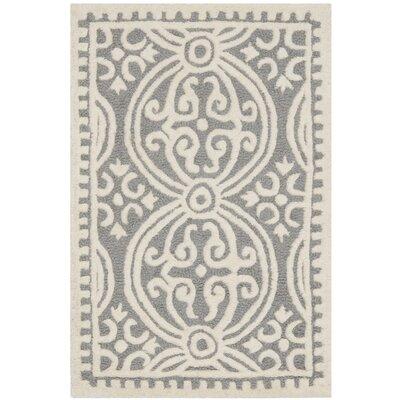 Landen Silver/Ivory Area Rug Rug Size: 4 x 6