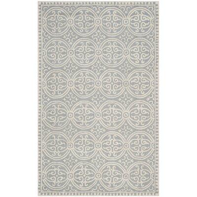Landen Silver/Ivory Area Rug Rug Size: 6 x 9