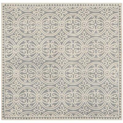 Landen Silver/Ivory Area Rug Rug Size: Square 6