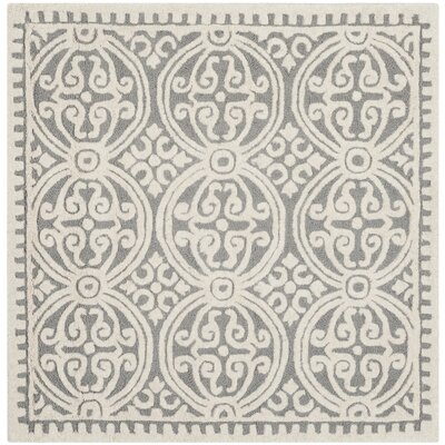 Landen Hand-Tufted Silver/Ivory Area Rug Rug Size: Square 4