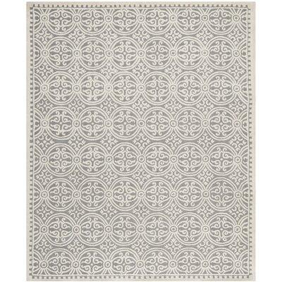 Landen Silver/Ivory Area Rug Rug Size: 12 x 18