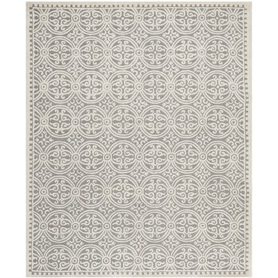 Landen Silver/Ivory Area Rug Rug Size: 76 x 96