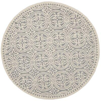 Landen Silver/Ivory Area Rug Rug Size: Round 8