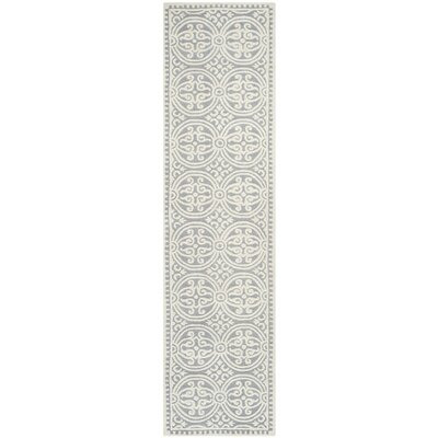 Landen Silver/Ivory Area Rug Rug Size: Runner 26 x 18