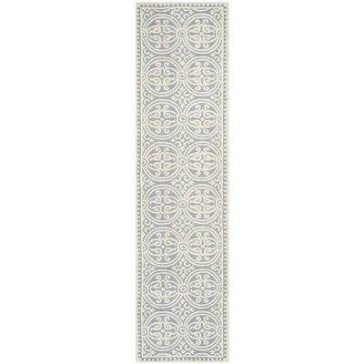 Landen Silver/Ivory Area Rug Rug Size: Runner 26 x 20