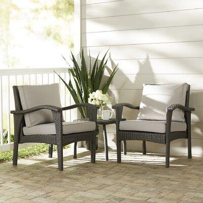Springboro 3 Piece Chat Set with Cushions Finish: Grey