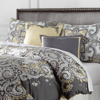 Cahill 5 Piece Comforter Set Color: Gray / Yellow, Size: Full / Queen