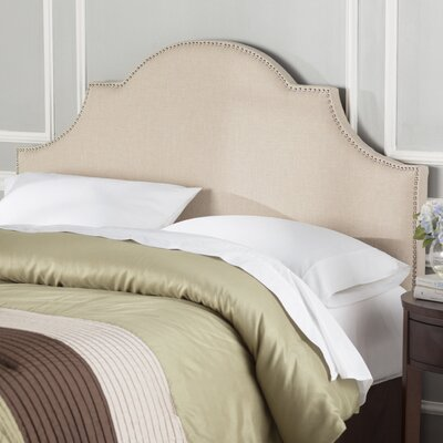 Caswell Upholstered Headboard Size: Queen, Color: Hemp, Nailhead Finish: Brass