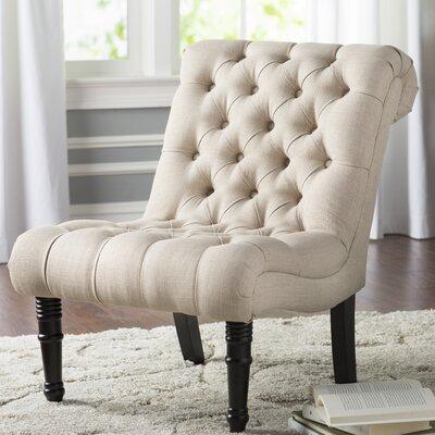 Clarke Scroll Back Tufted Upholstered Slipper Chair Upholstery: Oatmeal