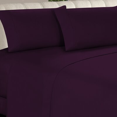Longfellow 4 Piece Sheet Set Size: Twin, Color: Eggplant