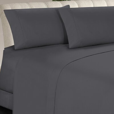 Longfellow 4 Piece Sheet Set Size: Queen, Color: Gray