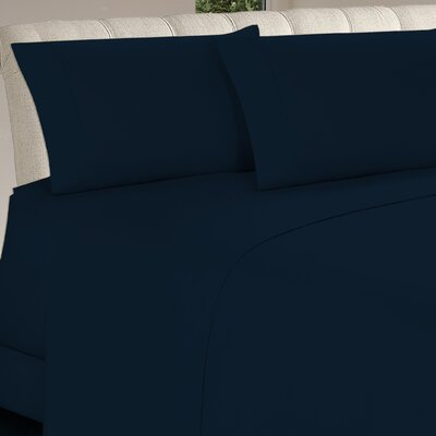 Longfellow 4 Piece Sheet Set Size: Full, Color: Navy