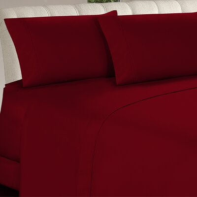 Longfellow 4 Piece Sheet Set Size: Full, Color: Burgundy