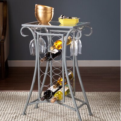 Herbert 10 Bottle Floor Wine Rack Finish: Silver