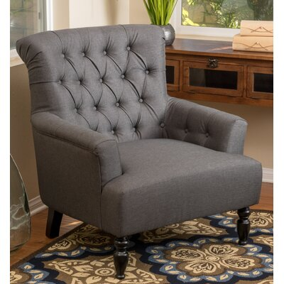 Verona Tufted Fabric Club Chair Upholstery: Dark Gray