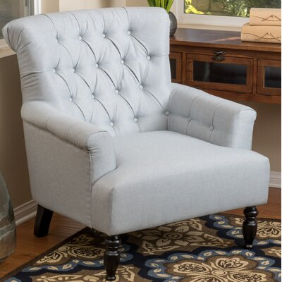 Verona Tufted Fabric Arm Chair Upholstery: Light Gray