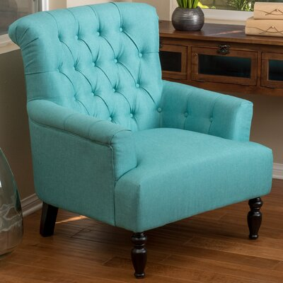 Verona Tufted Fabric Arm Chair Upholstery: Teal