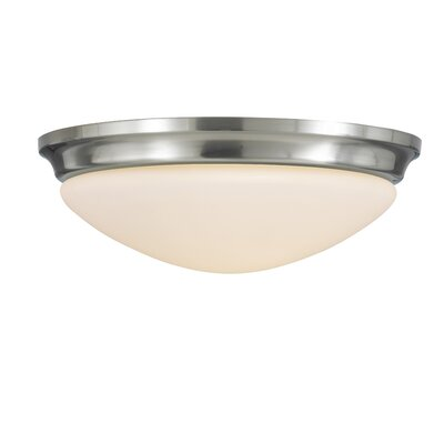 Pompton 1-Light Flush Mount Finish / Size: Brushed Steel / 4.25 H x 14 W