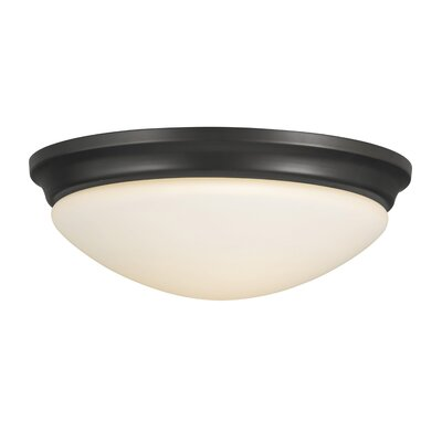 Pompton 1-Light Flush Mount Finish / Size: Oil Rubbed Bronze / 4.25 H x 14 W
