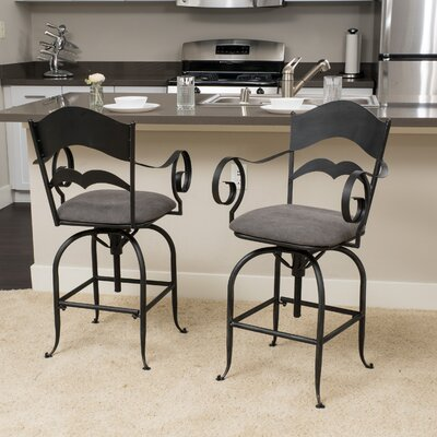 Cuyahoga Adjustable Height Swivel Bar Stool with Cushion