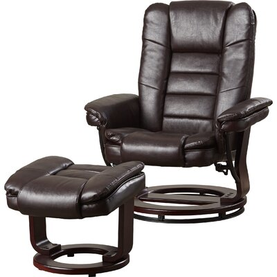 Manual Swivel Recliner with Ottoman Upholstery: Brown