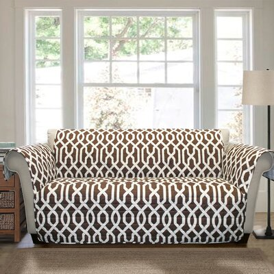 Caledonia Box Cushion Loveseat Slipcover Upholstery: Brown
