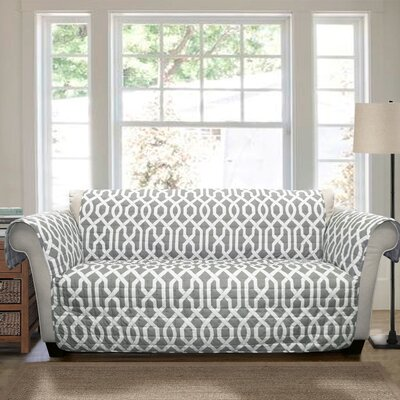 Caledonia Box Cushion Loveseat Slipcover Upholstery: Gray