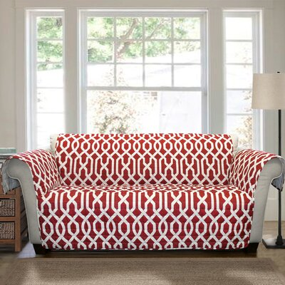Caledonia Box Cushion Loveseat Slipcover Upholstery: Red