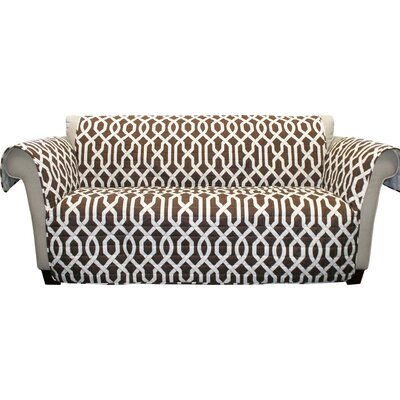 Caledonia Box Cushion Sofa Slipcover Upholstery: Brown
