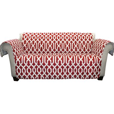 Caledonia Box Cushion Sofa Slipcover Upholstery: Red
