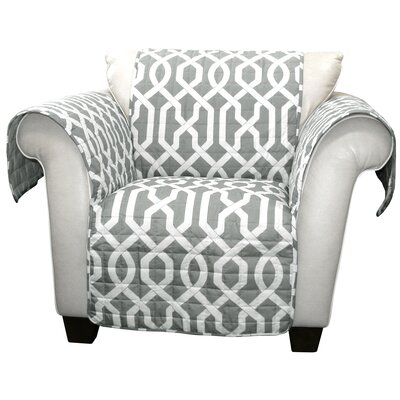 Caledonia Box Cushion Armchair Slipcover Upholstery: Gray