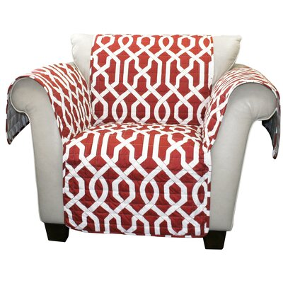 Caledonia Box Cushion Armchair Slipcover Upholstery: Red