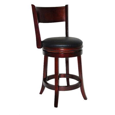 Shiloh 24 Swivel Bar Stool with Cushion Finish: English Tudor