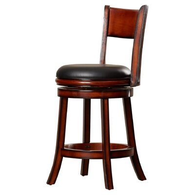 Shiloh 24 inch Swivel Bar Stool with Cushion Finish: Brandy