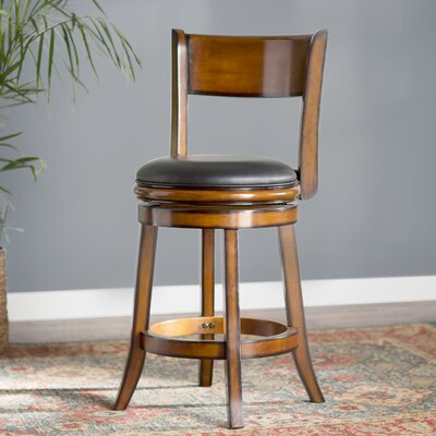 Shiloh 24 inch Swivel Bar Stool with Cushion Finish: Chesnut