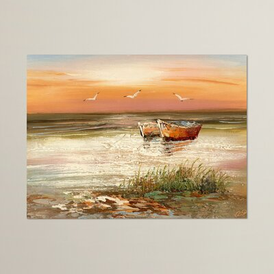 Florida Sunset Painting Print on Wrapped Canvas Size: 35 H x 47 W
