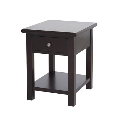 Blevins 1 Drawer End Table in Dark Birch