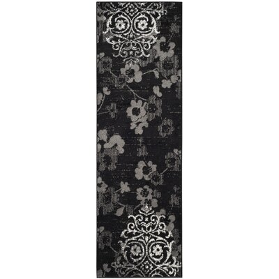 Adirondack Black/Silver Area Rug Rug Size: Runner 26 x 10