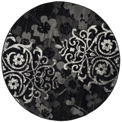 Adirondack Black/Silver Area Rug Rug Size: Rectangle 26 x 4