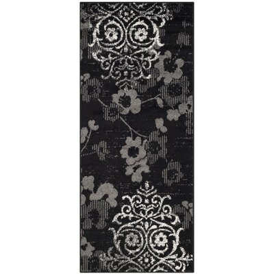 Adirondack Black/Silver Area Rug Rug Size: Runner 26 x 12