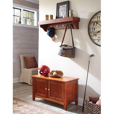 Bel Air 2 Piece Hall Tree Coat Hook and Cabinet Set Color: Cherry