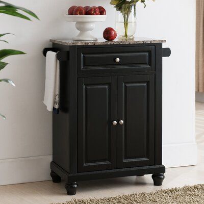 Leonard Kitchen Island with Faux Marble Top Base Finish: Black
