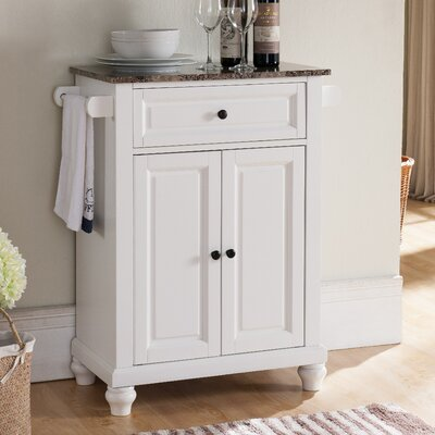 Leonard Kitchen Island with Faux Marble Top Base Finish: White