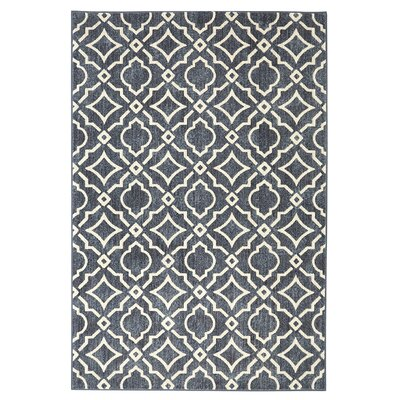 Lewisville Carved Tiles Denim Slate/Cream Area Rug Rug Size: Rectangle 8 x 10