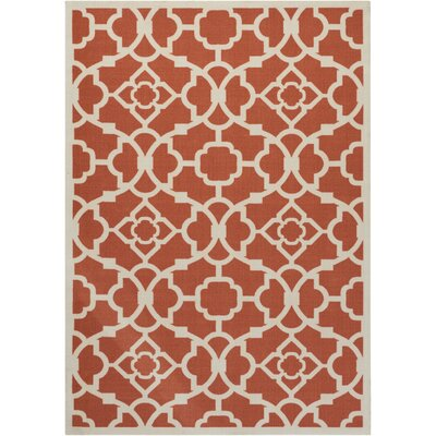 Alcott Hill Tarlton Sienna Burnt Orange/White Indoor/Outdoor Area Rug