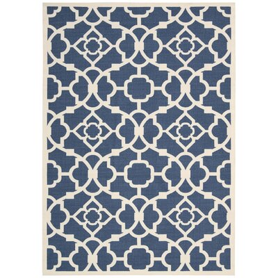 Kenton Lapis/White Indoor/Outdoor Area Rug Rug Size: 53 x 75