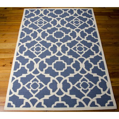 Kenton Lapis/White Indoor/Outdoor Area Rug Rug Size: Rectangle 10 x 13