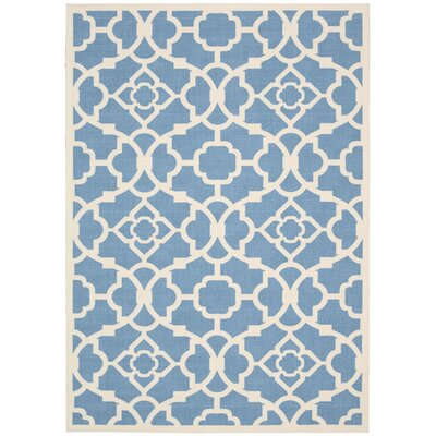 Kenton Azure/White Indoor/Outdoor Area Rug Rug Size: 53 x 75