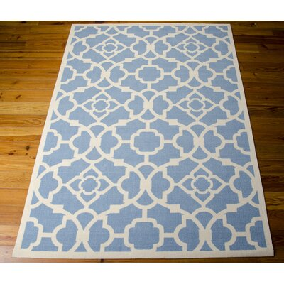 Kenton Azure/White Indoor/Outdoor Area Rug Rug Size: Rectangle 53 x 75